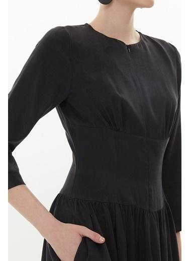 Societa Korsaj detaylı fermuarlı uzun elbise 93371 Siyah